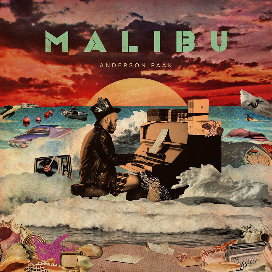anderson paak album cover for Malibu. Collage of man playing piano in the ocean at sunset